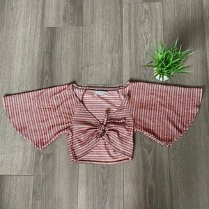Urban Outfitters Short Bell Sleeves Tie Crop Top S